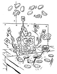 Spongebob Is Making Krabby Patties Coloring Page From Sponge Bob Category Select 25680 Printable