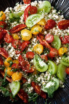 This beautiful and bright tomato salad is the perfect fresh summer side.#Salad #Tomato