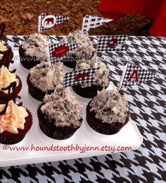 Alabama Crimson Tide SEC football cupcakes cupcake toppers flags toothpicks picks by HoundstoothbyJenn