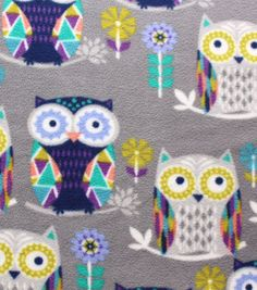 Anti-Pill Fleece Fabric Geo Owls