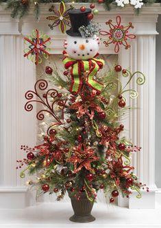 Snowman Themed Christmas Tree | Snowman Head w Black Top Hat Christmas Tree Topper Decoration ...