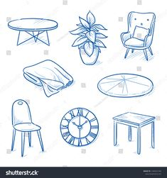 furniture sketch Set of furniture shop objects as chair, table, clock, blanket, plant. Concept for modern interior. Hand drawn line art cartoon vector illustration. Interior Design Sketches, Industrial Design Sketch, Sketch Design, Drawing Furniture, Cute Furniture, Table Sketch, Drawing Room Design, Object Drawing, Prop Design