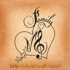 #family #tattoo #M #treble-clef