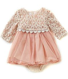 Bonnie Baby Baby Girls Newborn24 Months Lace Popover to Tulle Dress #Dillards