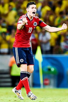 8a0f930d3 JULY James Rodriguez of Colombia celebrates scoring his team s first goal  on a penalty kick during the 2014 FIFA World Cup Brazil Quarter Final match  ...