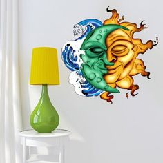 Moon  wall art is not only trendy, cute and modern but it is the symbol of eternity, femininity  and timelessness.  You can use moon wall  art in all rooms of your home and it makes a fantastic gift for anyone who  loves astrology, nature, and astronomy    Full Color Wall Decal Mural Sticker Decor Art Poster Gift Sun Moon Crescent Waves Ocean Dual Both Ethnic Symbol (Col649)
