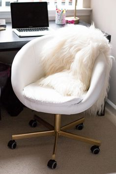 SKRUVSTA ikea hack, diy gold office chair, boconcept sheepskin throw