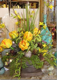 Flower arranging in a 12 tall vase home shop at home silk florals tulip arrangement silk floral more mightylinksfo