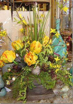 Tulip arrangement, silk floral