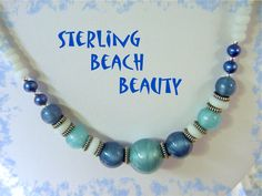 """Island Girl - Sterling Silver Vintage Murano Art Glass, Faceted Pearls, Sea Glass 22"""" Bead Necklace - FREE SHIPPING by FindMeTreasures on Etsy"""