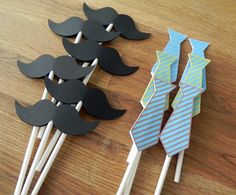 Cupcake Toppers: Little Man Ties and Mustaches Baby Shower or Birthday Party - die cut mustaches ties. $13.50, via Etsy.