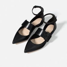Image 5 of LEATHER BALLERINAS WITH BUCKLE from Zara