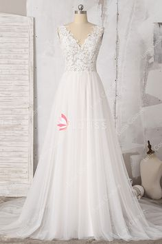 215938d145 Illusion Light Ivory V-neck Lace Tulle A-line Beach Wedding Dress with Chapel  Train