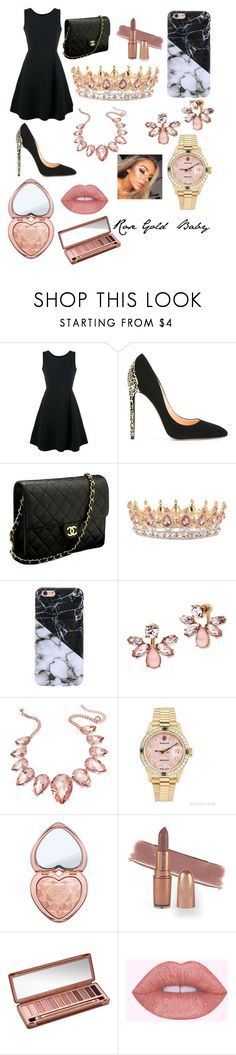 """""""Rose Gold Baby"""" by maggie1515 ❤ liked on Polyvore featuring Emporio Armani, Cerasella Milano, Chanel, Marchesa, Thalia Sodi, Rolex, Too Faced Cosmetics and Urban Decay"""