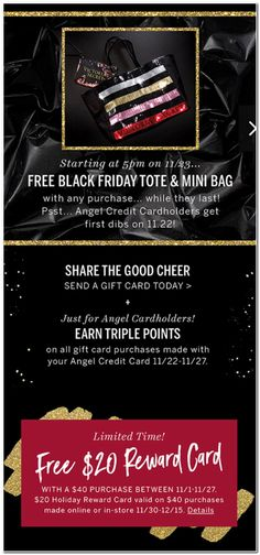 Victoria's Secret Black Friday 2017 Ads and Deals Find everything you need to know about shopping Victoria's Secret Black Friday Victoria's Secret is the largest lingerie retailer in the Unite. Victoria Secret Black Friday, Victoria Secret Bags, Good Cheer, Free Black, Printable Coupons, All Gifts, Get One, Mini Bag, Need To Know