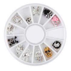 Nail Art Decoration Skull Shape Metal Alloy UV Gel Polish Glitter 3D Desgin Charm Jewelry Accessories Wheel Manicure Tool >>> Visit the image link more details.