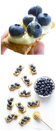 Graham crackers with light swiss cheese, blueberries, and honey.