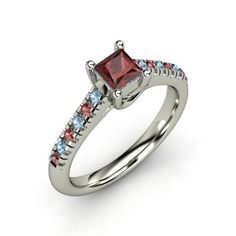 Princess Red Garnet Sterling Silver Ring with Red Garnet $323