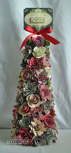 Pretty, Paper Flower Christmas Cone from My Creations.