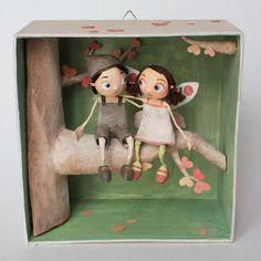 Chloe Remiat ||| papier mache, paper, shadow, box, diorama, vignette, scene…