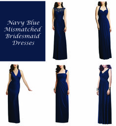 We love mismatching long navy blue bridesmaid dresses! Mismatched bridesmaid dresses are where it's at. We chose Dessy dresses in Midnight blue.