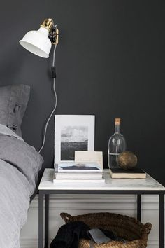 IKEA Vittsjö table with a tile top as a bedsode table.I love good IKEA hacks an. - Ikea DIY - The best IKEA hacks all in one place Sinnerlig Ikea, Ikea Vittsjo, Home Bedroom, Bedroom Wall, Bedroom Decor, Bedrooms, Gray Bedroom, Gray Bedding, Planner Organization