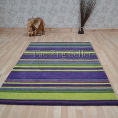 Wool stripes rugs in purple lime buy online from the rug seller uk