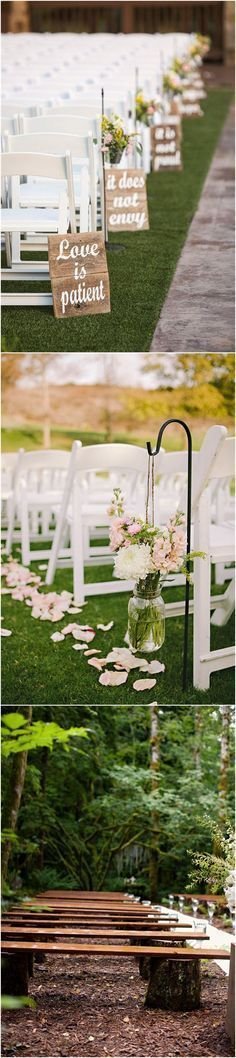 Country Weddings » 25 Rustic Outdoor Wedding Ceremony Decorations Ideas » ❤️ See more: http://www.weddinginclude.com/2017/06/rustic-outdoor-wedding-ceremony-decorations-ideas/