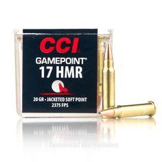 CCI 17 HMR Ammo - 50 Rounds of 20 Grain JSP Ammunition #17HMR #17HMRAmmo #CCI #CCIAmmo #CCI17HMR #JSP #Gamepoint