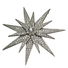 1920's  This One of a Kind Handmade Art Deco Pin is full of fire with over 12 carats of diamonds