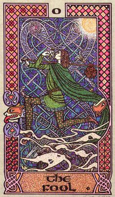 The Fool - Celtic Tarot by Courtney Davis & Helena Paterson. This card symbolizes one of the stages of the Fool's Journey towards self-discovery. The Fool stands for all of us. For more information, visit me at: * Whimsy but Wise *. Divination Cards, Tarot Cards, Celtic Tarot, Tarot The Fool, Joker Playing Card, Joker Card, Tarot Significado, Tarot Astrology, Tarot Learning