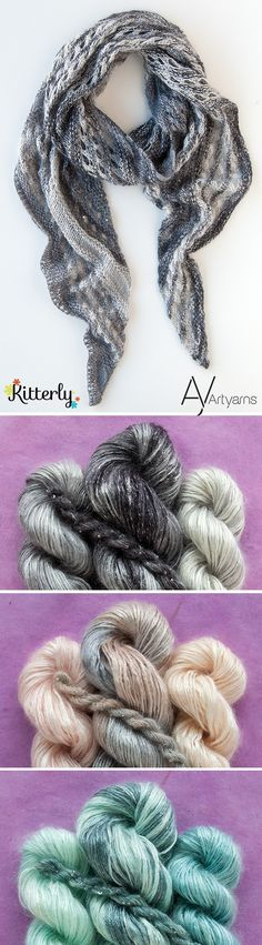 Check out our sparkling, shimmering shawl and wrap kits from Artyarns and Francoise Danoy!  #artyarns