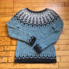 """Vintersol (""""winter sunshine"""") is inspired by a walk in a frosty, wintery meadow. This example is made with a soft and wooly double strand of Camilla Vad yarn, Fair Isle Knitting, Knitting Yarn, Free Knitting, Knitting Designs, Knitting Projects, Pull Jacquard, Icelandic Sweaters, How To Purl Knit, Ravelry"""