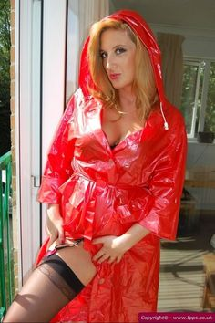 Red PVC Hooded Raincoat