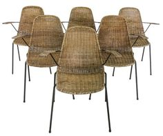 Lucca Antiques - Seating: Set of (6) French Mid Century Rattan Arm Chairs