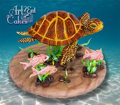 Honu the Sea Turtle & Fishy Friends by Heather -Art2Eat Cakes- Sherman