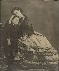 Empress Eugenie Montijo(*1826+1920) and her only child Napoleon Eugenio*1856-79 imperial Prince(Napoleon IV.)	1862
