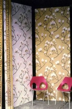 Magnolia (72-3008) is a gold, metallic, pink, floral, wallpaper and part of the Patina wallpaper collection by Cole & Son.