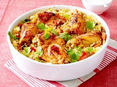 Indisches Hähnchen-Curry mit Reis Rezept