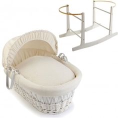 Cream Waffle White Wicker Moses Basket With White Rocking Stand