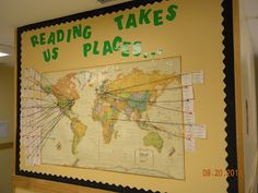 Interactive bulletin board to track the settings of all the books we read in class. This could encourage students to read outside of class so they can add to the board.