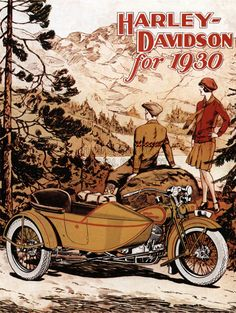 Vintage Harley-Davidson Advertising Poster 1927 | Research| Research for possible future project. Description from pinterest.com. I searched for this on bing.com/images
