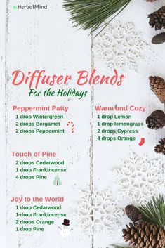 Essential oil diffuser blends that are great for the holidays...turn your home into a cozy winter wonderland!