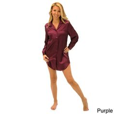 71beea6558 Del Rossa Women s Satin Sleep Shirt Sleepwear Women