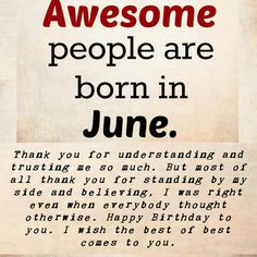 Awesome People Born in June Quote, Birthday Wishes for June People