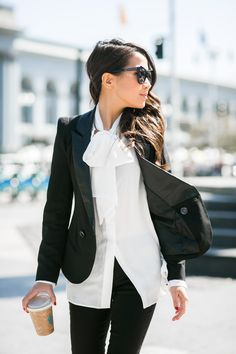 Bows :: Necktie blouse & Bow-embellished flats :: Outfit :: Top :: ASOS blazer , Iris & Ink blouse Bottom :: J Brand Shoes :: Laurence Dacade Accessories :: Karen Walker sunglasses Published: October 5, 2014