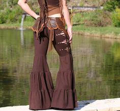 Aiwaya Pants in Brown Tribal Yoga Braided with by ElvenForest. $97.00 USD, via Etsy.