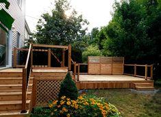 Both levels of this deck help to separate the space. Landscape Services, Landscape Plans, Landscape Design, Outdoor Furniture Inspiration, Patio Design, House Design, Corner Garden, Brick Patios, Wooden Decks