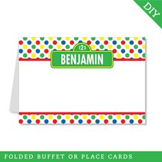 Sesame Street party - Personalized DIY printable buffet cards or place cards. $9.00, via Etsy.