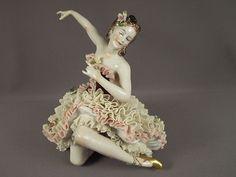 German Porcelain Dresden Lace Lady Dancer Figurine